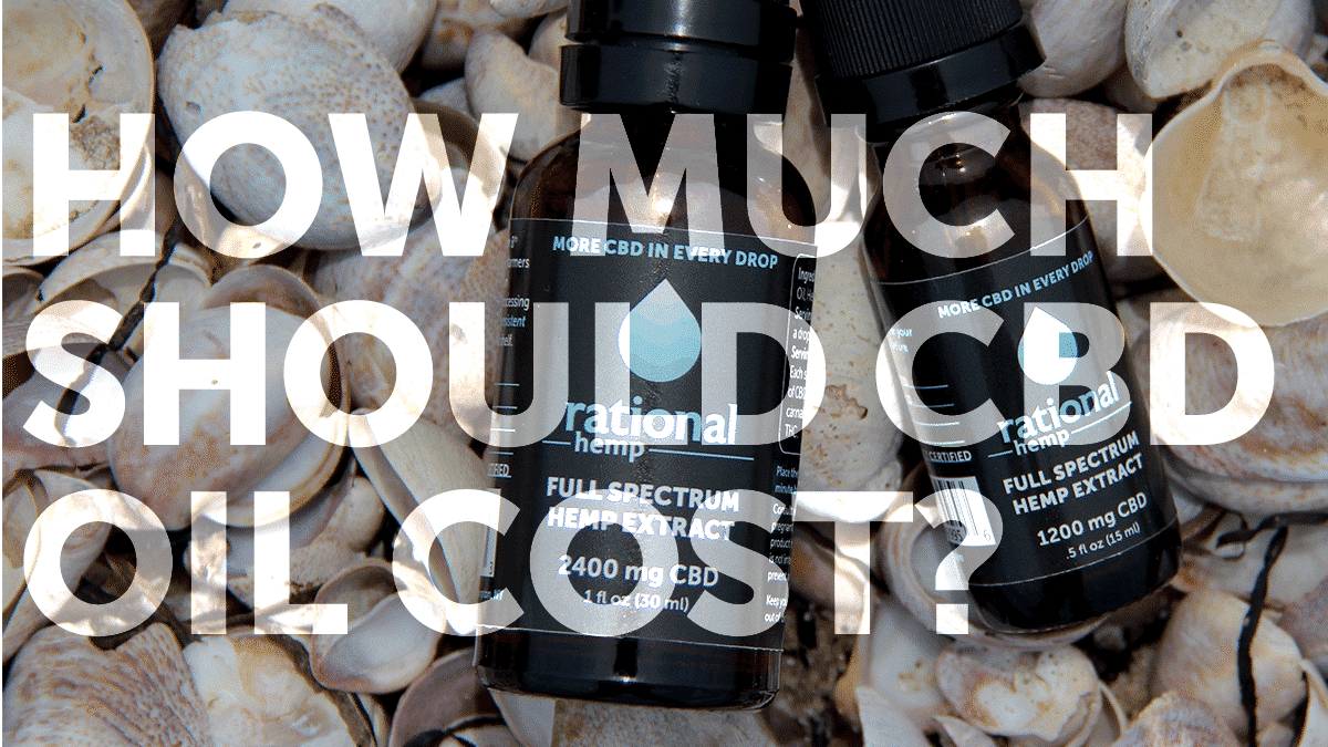 """How Much Should CBD Oil Cost?"" blog header featuring Rational Hemp"